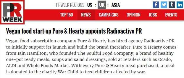 New food PR agency win for Radioactive PR