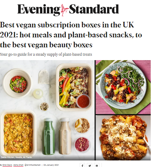 press office support for Vibrant Vegan - media coverage of our client on the Evening Standard